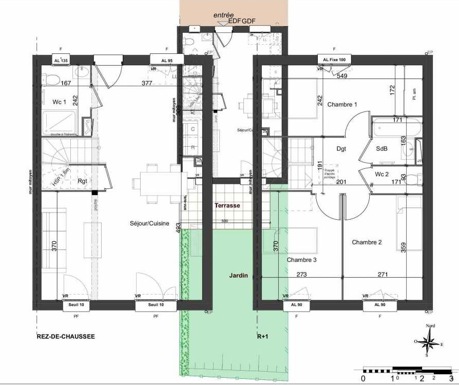 Plan 131, appartement neuf type T4 au Rez de chaussée, orienté Sud faisant 81m² du programme neuf LES JARDINS BELLIS TRANCHE 2 à Bourg-en-Bresse.