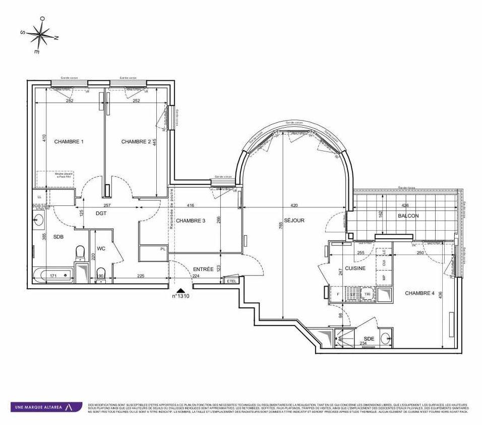Plan 1310, appartement neuf type T5 au 3ème étage, orienté Sud faisant 103m² du programme neuf 18 RUE CHARLES MARTIGNY à Maisons-Alfort.