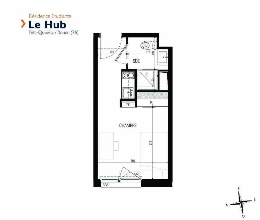 Plan 132, appartement neuf type T1 au 1er étage, faisant 18m² du programme neuf Le Hub à Le Petit-Quevilly.