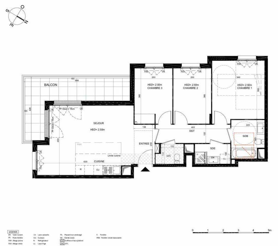 Plan 132, appartement neuf type T4 au 3ème étage, orienté Sud faisant 79m² du programme neuf LES JARDINS BALZAC BAT 3 à Argenteuil.