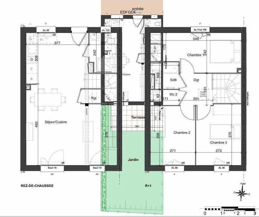 Plan 132, appartement neuf type T4 au Rez de chaussée, orienté Sud faisant 81m² du programme neuf LES JARDINS BELLIS TRANCHE 2 à Bourg-en-Bresse.