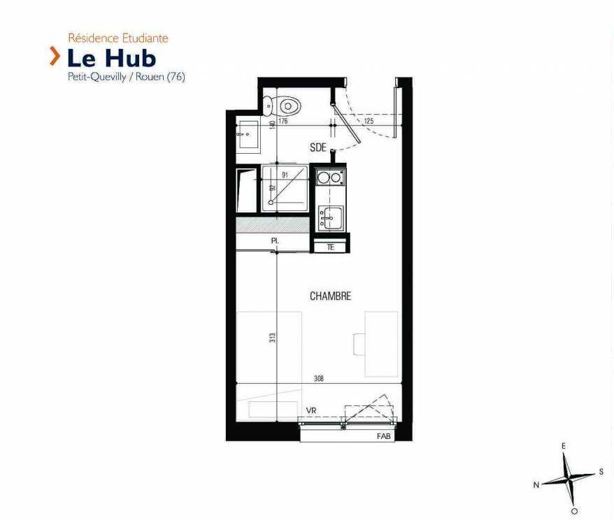 Plan 133, appartement neuf type T1 au 1er étage, faisant 18m² du programme neuf Le Hub à Le Petit-Quevilly.