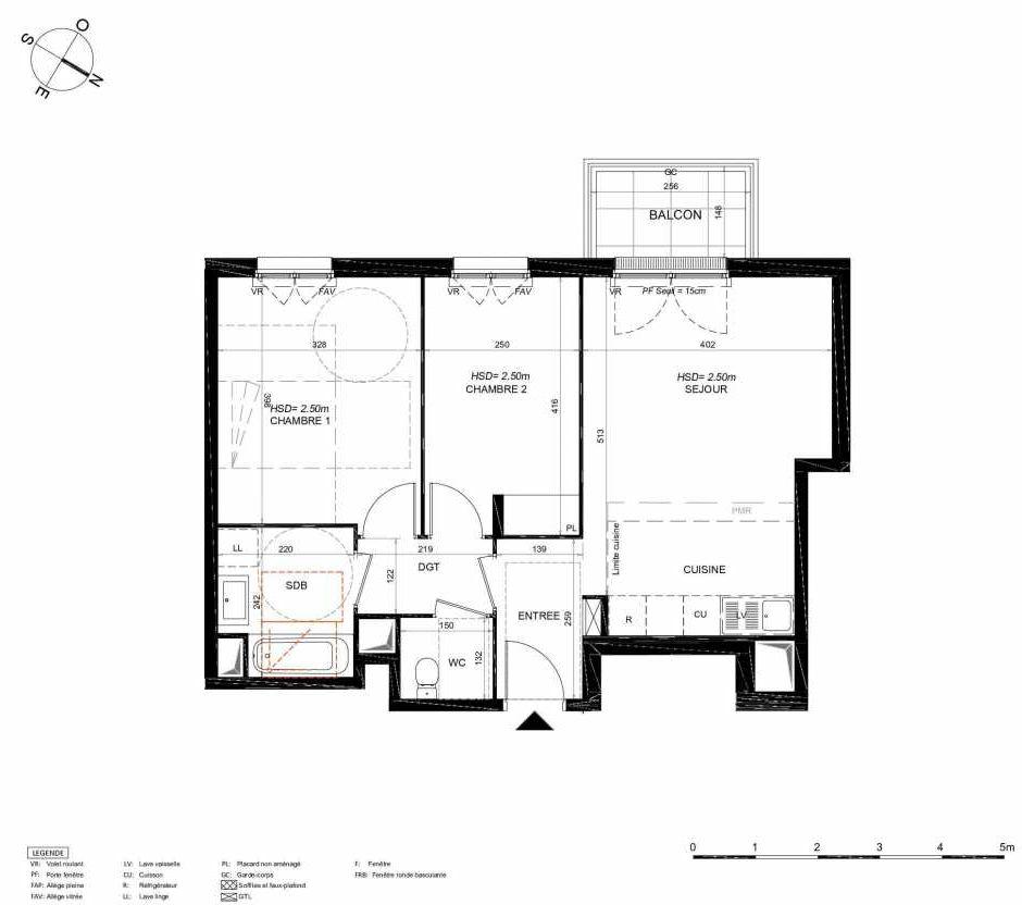 Plan 133, appartement neuf type T3 au 3ème étage, orienté Sud faisant 58m² du programme neuf LES JARDINS BALZAC BAT 3 à Argenteuil.