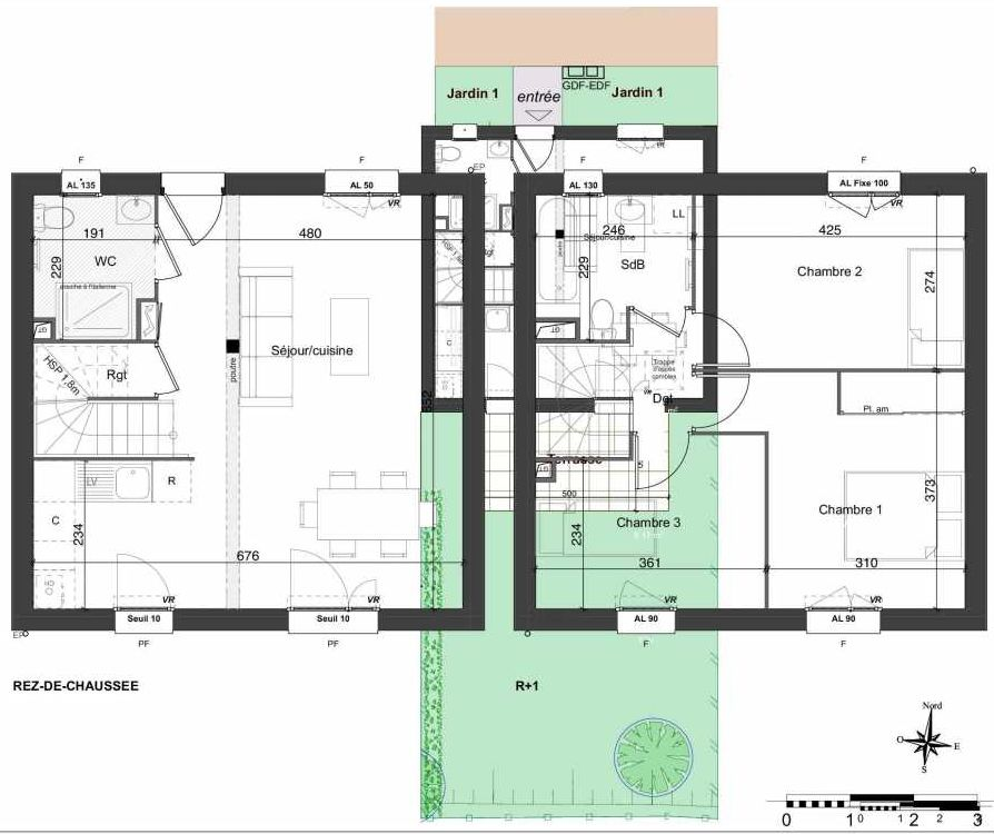 Plan 133, appartement neuf type T4 au Rez de chaussée, orienté Sud faisant 81m² du programme neuf LES JARDINS BELLIS TRANCHE 2 à Bourg-en-Bresse.