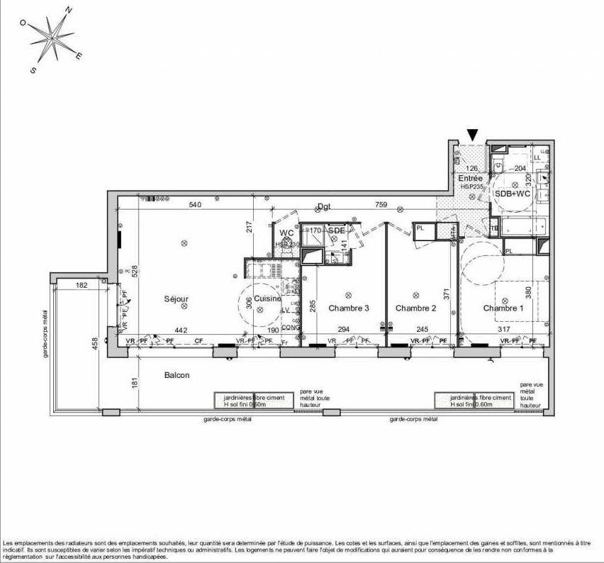 Plan 1333, appartement neuf type T4 au 3ème étage, orienté Sud faisant 83m² du programme neuf Belvedere - Bordoriva à Bordeaux.