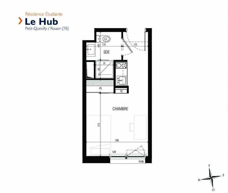 Plan 134, appartement neuf type T1 au 1er étage, faisant 18m² du programme neuf Le Hub à Le Petit-Quevilly.