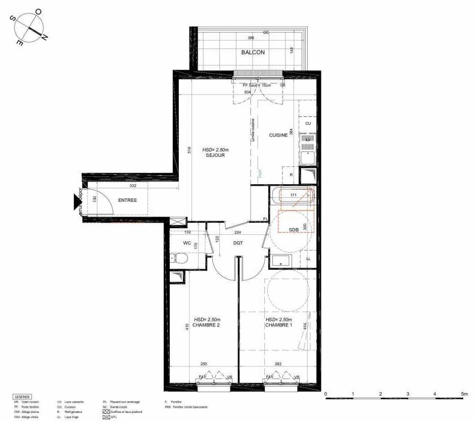 Plan 134, appartement neuf type T3 au 3ème étage, orienté Sud faisant 60m² du programme neuf LES JARDINS BALZAC BAT 3 à Argenteuil.