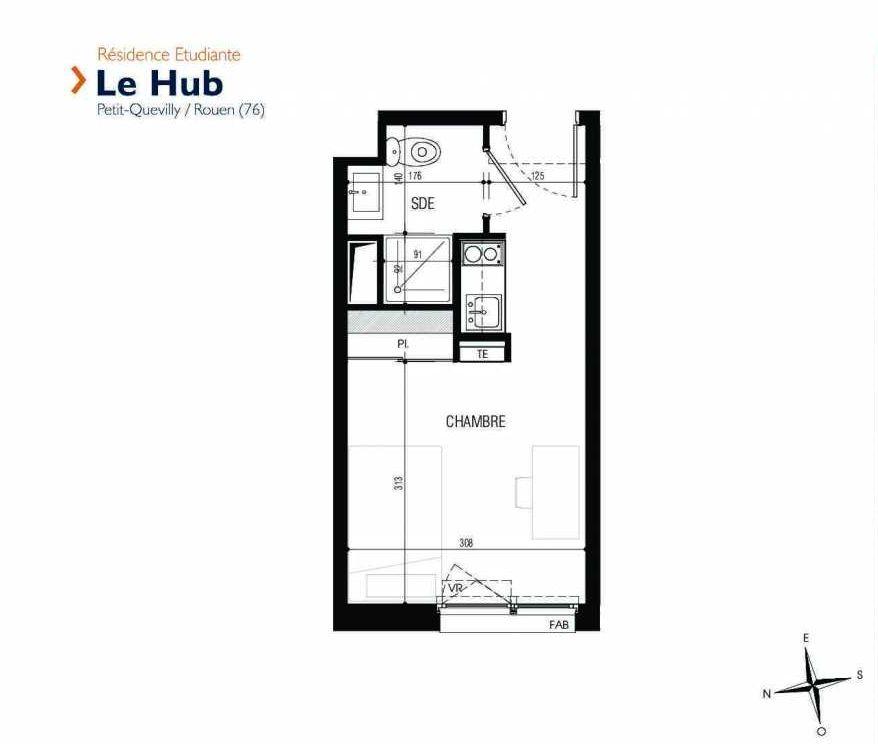 Plan 135, appartement neuf type T1 au 1er étage, faisant 18m² du programme neuf Le Hub à Le Petit-Quevilly.