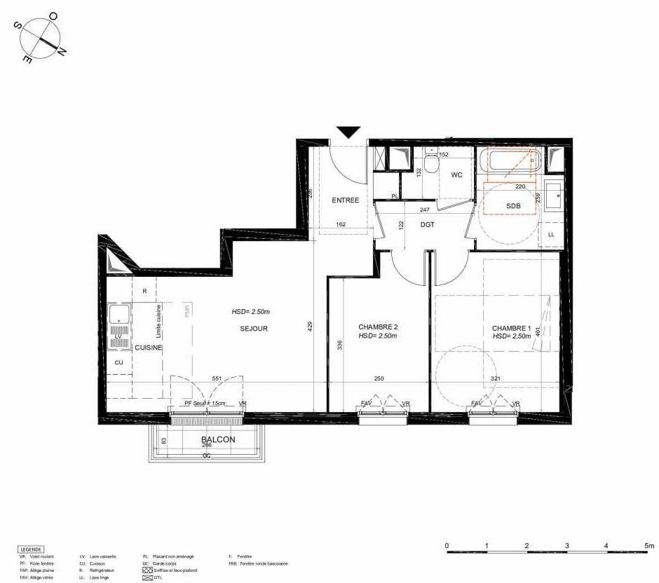 Plan 135, appartement neuf type T3 au 3ème étage, orienté Nord faisant 59m² du programme neuf LES JARDINS BALZAC BAT 3 à Argenteuil.