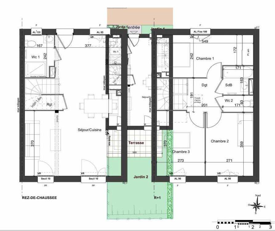 Plan 136, appartement neuf type T4 au Rez de chaussée, orienté Sud faisant 81m² du programme neuf LES JARDINS BELLIS TRANCHE 2 à Bourg-en-Bresse.