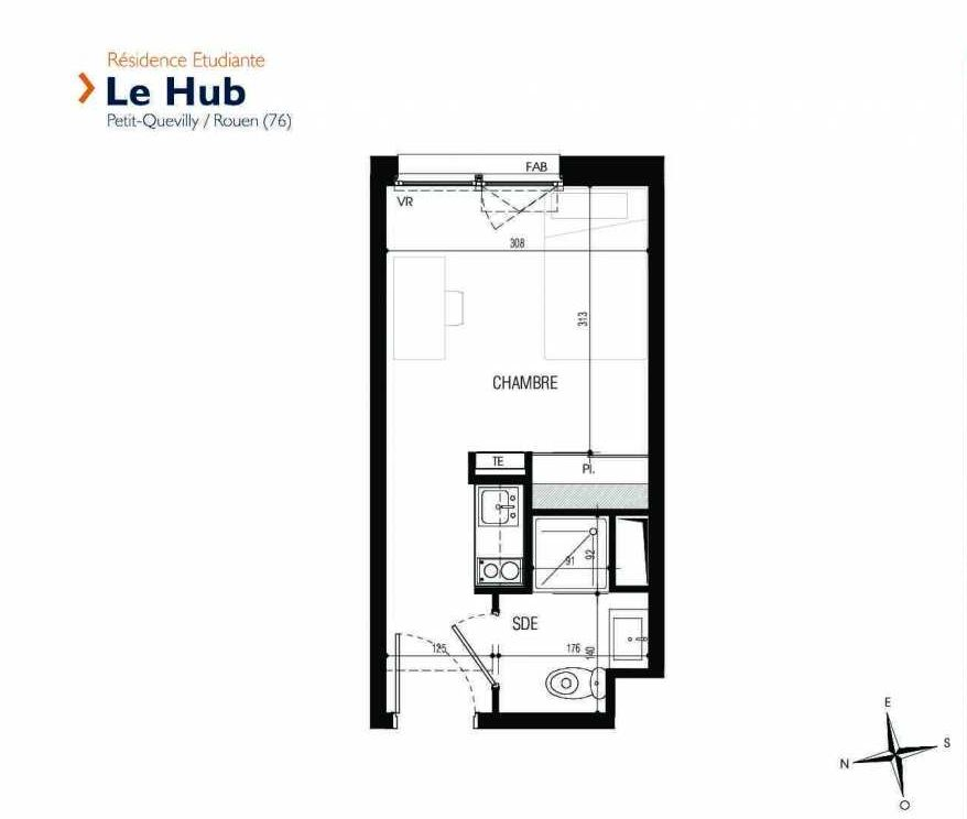 Plan 138, appartement neuf type T1 au 1er étage, faisant 18m² du programme neuf Le Hub à Le Petit-Quevilly.