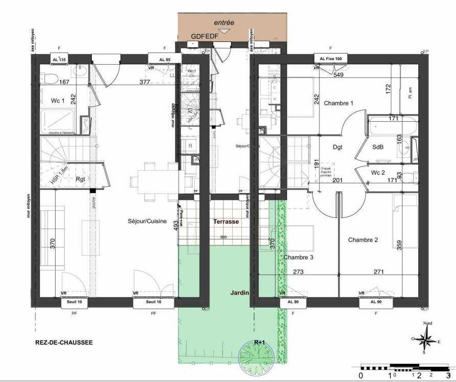 Plan 138, appartement neuf type T4 au Rez de chaussée, orienté Sud faisant 81m² du programme neuf LES JARDINS BELLIS TRANCHE 2 à Bourg-en-Bresse.