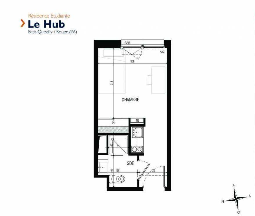 Plan 139, appartement neuf type T1 au 1er étage, faisant 18m² du programme neuf Le Hub à Le Petit-Quevilly.