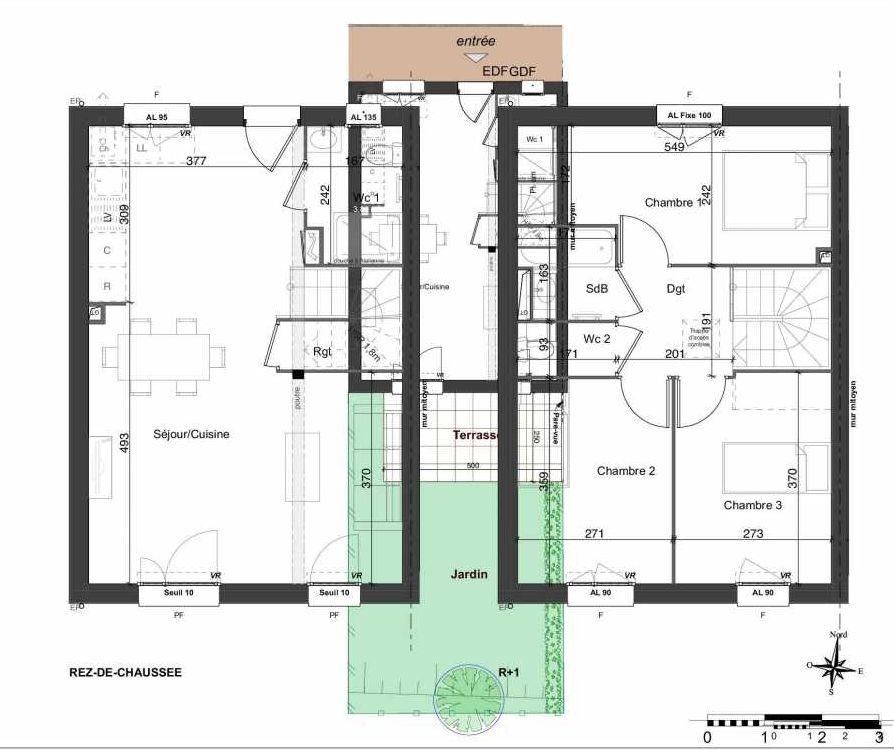 Plan 139, appartement neuf type T4 au Rez de chaussée, orienté Sud faisant 81m² du programme neuf LES JARDINS BELLIS TRANCHE 2 à Bourg-en-Bresse.