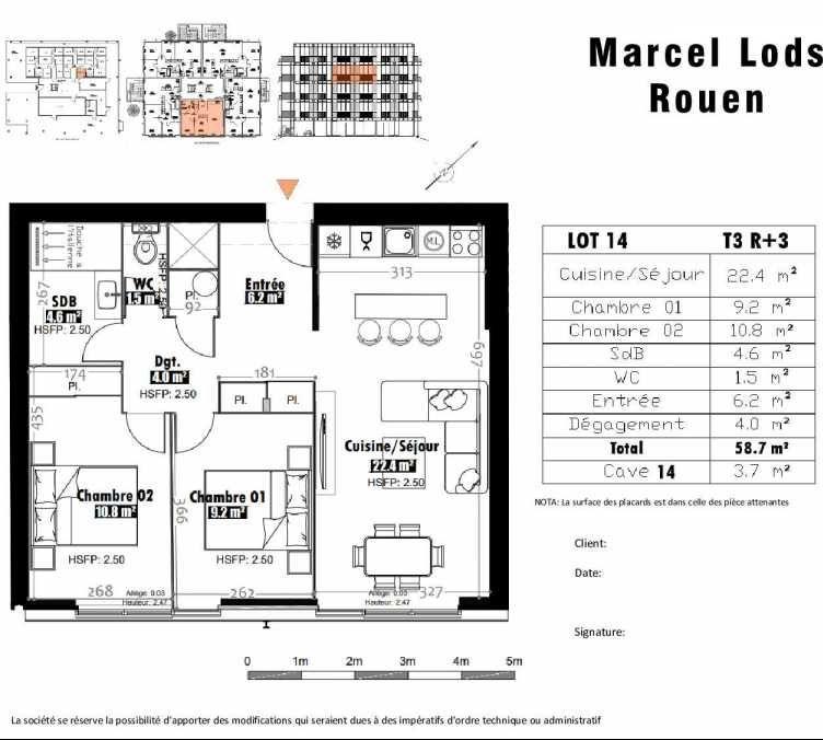 Plan 14, appartement neuf type T3 au 3ème étage, faisant 59m² du programme neuf 15 rue Jean-Philippe Rameau à Rouen.