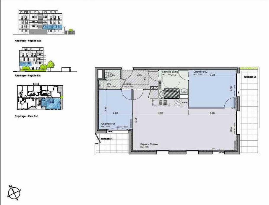 Plan 14, appartement neuf type T3 au 1er étage, orienté Sud faisant 70m² du programme neuf Greystone à Lille.
