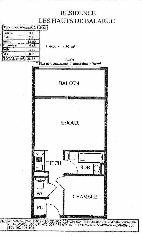 Plan 14, appartement neuf, orienté Sud faisant 28m² du programme neuf LES HAUTS DE BALARUC à Balaruc-les-Bains.
