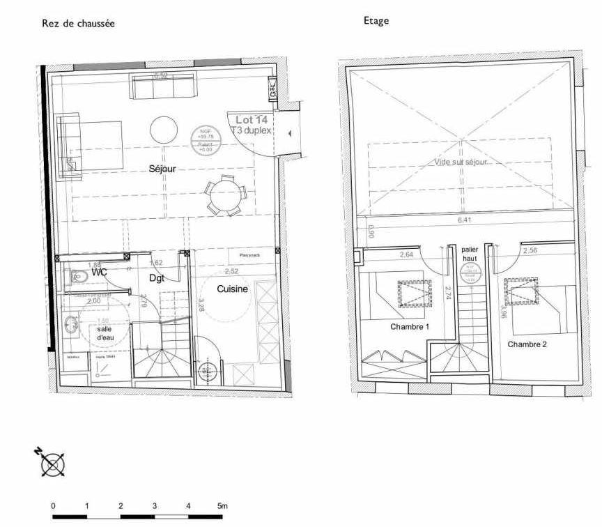 Plan 14, appartement neuf type T3 au Rez de chaussée, faisant 80m² du programme neuf LES HAUTS DE MIRABEAU à Aix-en-Provence.