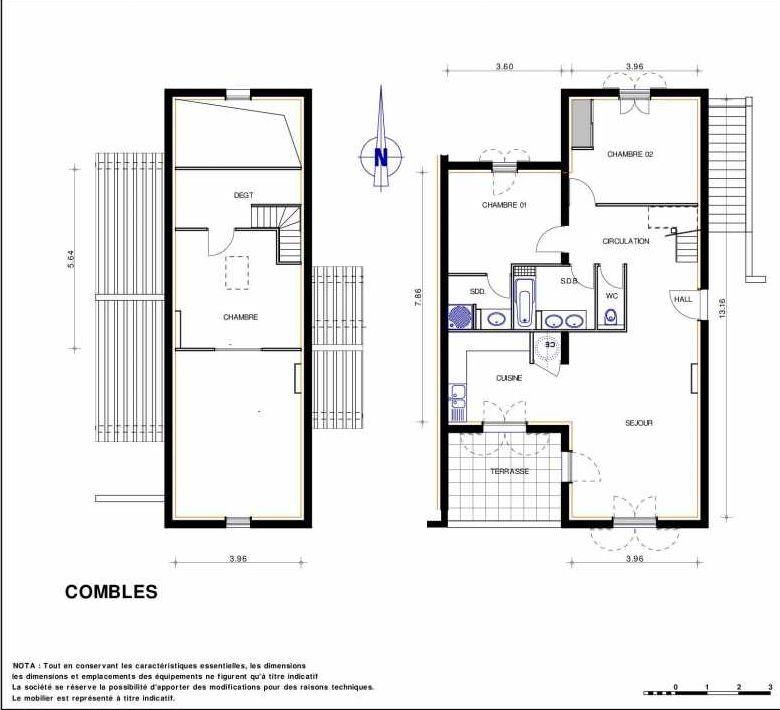 Plan 14, appartement neuf type T4 au 1er étage, orienté Sud faisant 99m² du programme neuf LES JARDINS D'ADELAIDE à Grimaud.