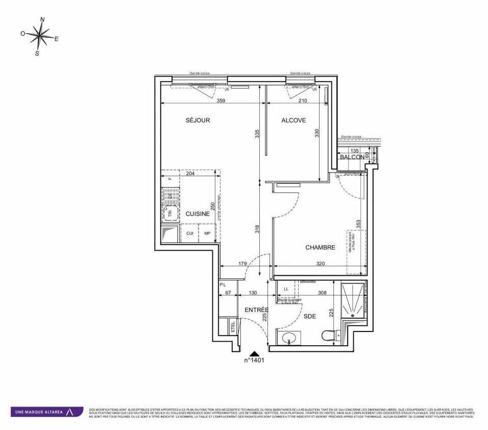 Plan 1401, appartement neuf type T2 au 4ème étage, orienté Ouest faisant 49m² du programme neuf 18 RUE CHARLES MARTIGNY à Maisons-Alfort.