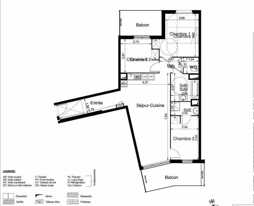 Plan 1401, appartement neuf type T4 au 4ème étage, orienté Sud faisant 80m² du programme neuf LES JARDINS D'ARGELIES BÂTIMENT 1 ET 2 à Juvisy-sur-Orge.
