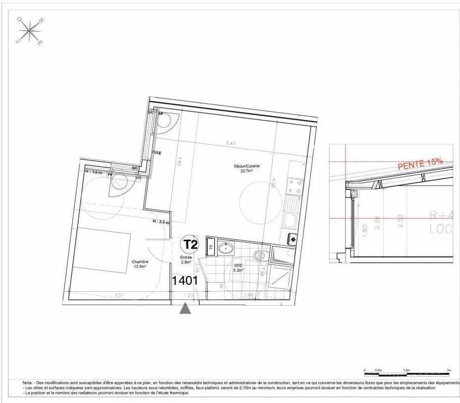 Plan 1401, appartement neuf type T2 au 4ème étage, orienté Ouest faisant 44m² du programme neuf LES JARDINS D'AUNAIS ACCESSION à Aulnay-sous-Bois.