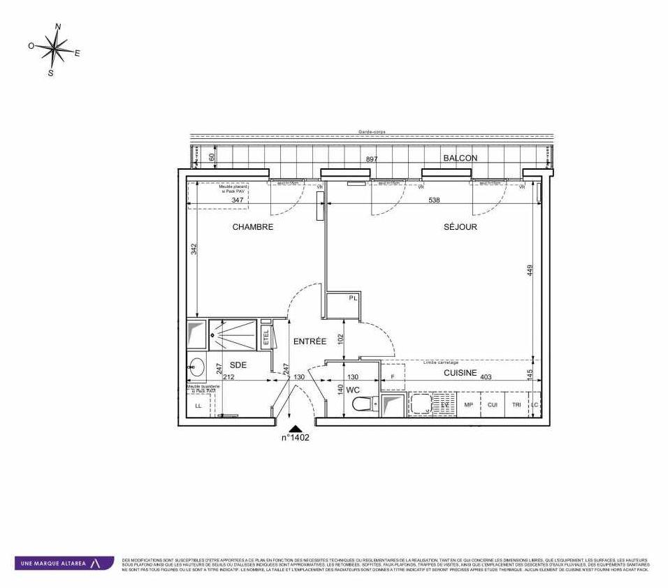 Plan 1402, appartement neuf type T2 au 4ème étage, orienté Ouest faisant 51m² du programme neuf 18 RUE CHARLES MARTIGNY à Maisons-Alfort.