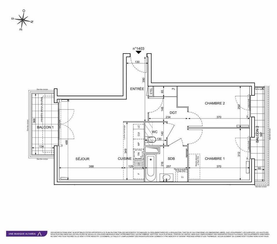 Plan 1403, appartement neuf type T3 au 4ème étage, orienté Sud faisant 63m² du programme neuf 18 RUE CHARLES MARTIGNY à Maisons-Alfort.
