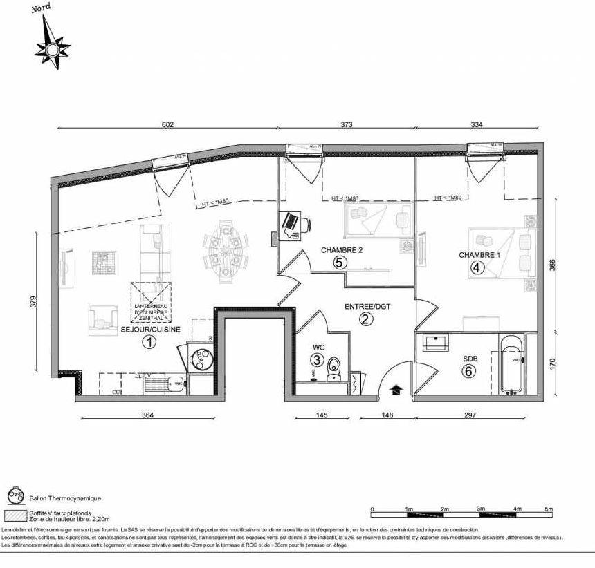 Plan 1403, appartement neuf type T3 au 4ème étage, orienté Nord faisant 63m² du programme neuf LE CLOS DU VAL A OSNY 55 LOTS à Osny.