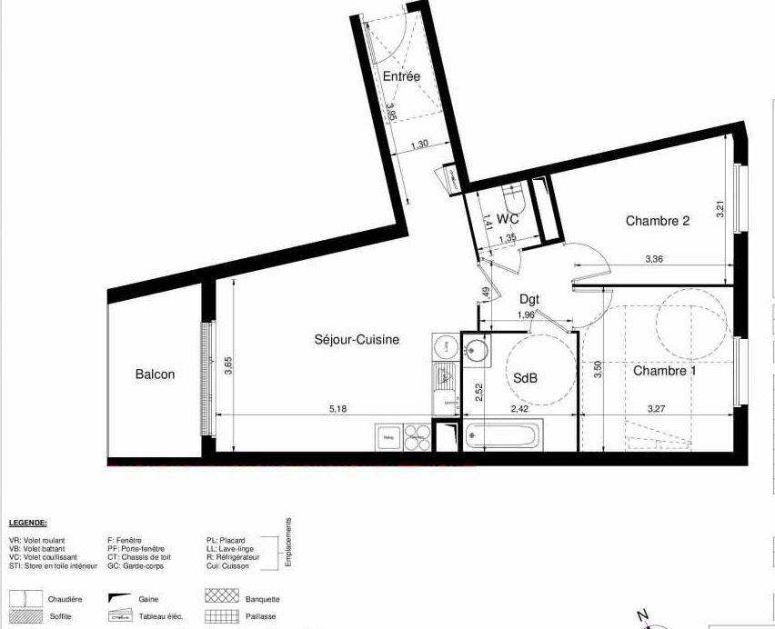 Plan 1403, appartement neuf type T3 au 4ème étage, orienté Ouest faisant 61m² du programme neuf LES JARDINS D'ARGELIES BÂTIMENT 1 ET 2 à Juvisy-sur-Orge.