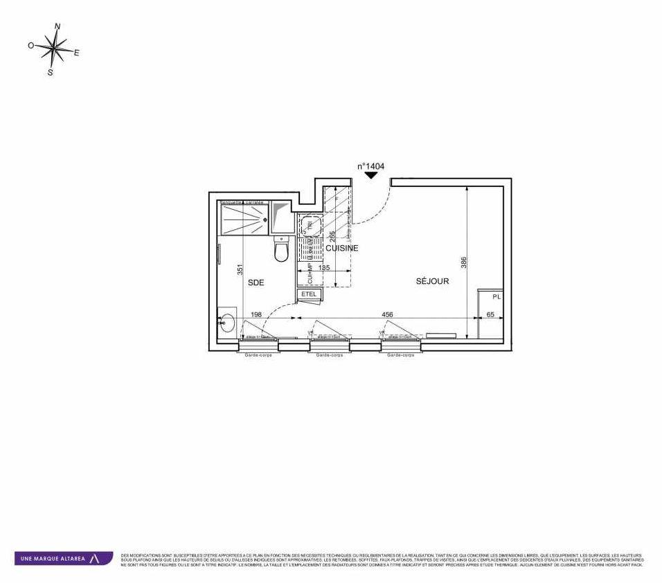 Plan 1404, appartement neuf type T1 au 4ème étage, orienté Sud faisant 26m² du programme neuf 18 RUE CHARLES MARTIGNY à Maisons-Alfort.