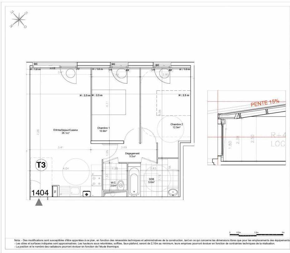 Plan 1404, appartement neuf type T3 au 4ème étage, orienté Sud faisant 60m² du programme neuf LES JARDINS D'AUNAIS ACCESSION à Aulnay-sous-Bois.