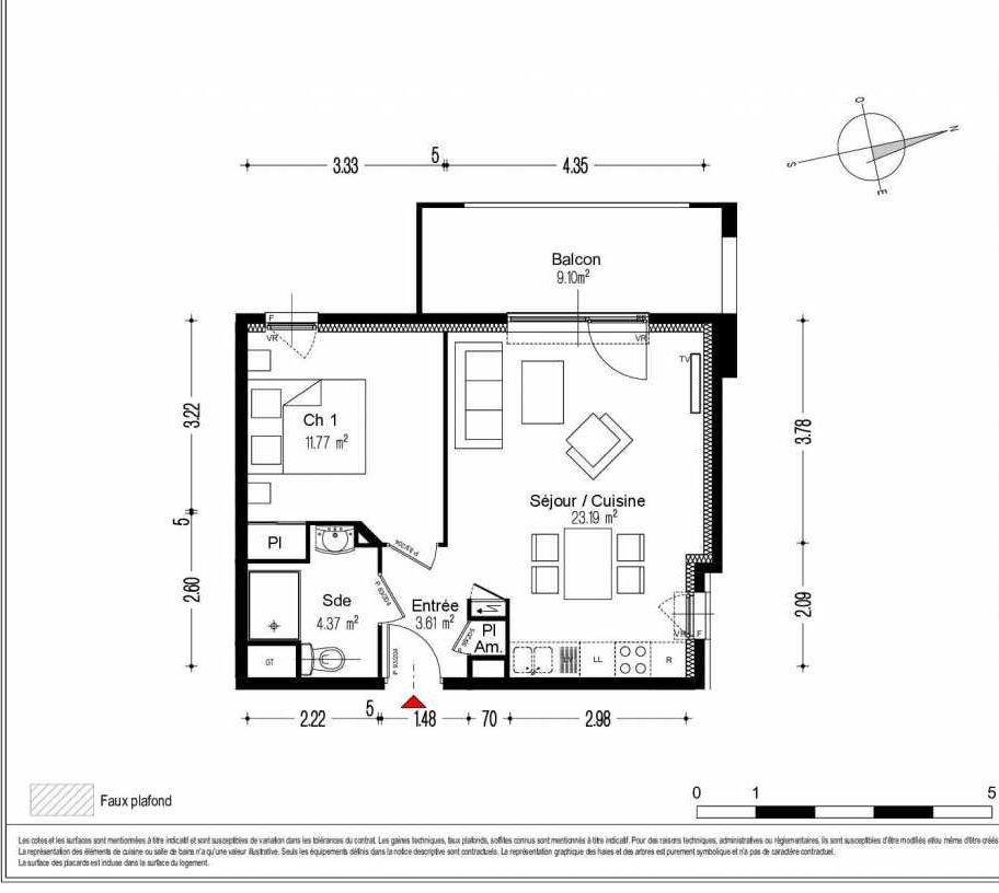 Plan 1404, appartement neuf type T2 au 4ème étage, orienté Ouest faisant 43m² du programme neuf O'LIVIA BAT A - 27 LOTS à Dijon.