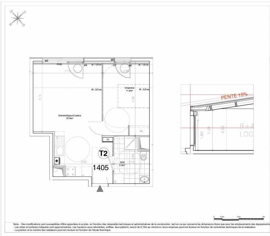 Plan 1405, appartement neuf type T2 au 4ème étage, orienté Sud faisant 43m² du programme neuf LES JARDINS D'AUNAIS ACCESSION à Aulnay-sous-Bois.