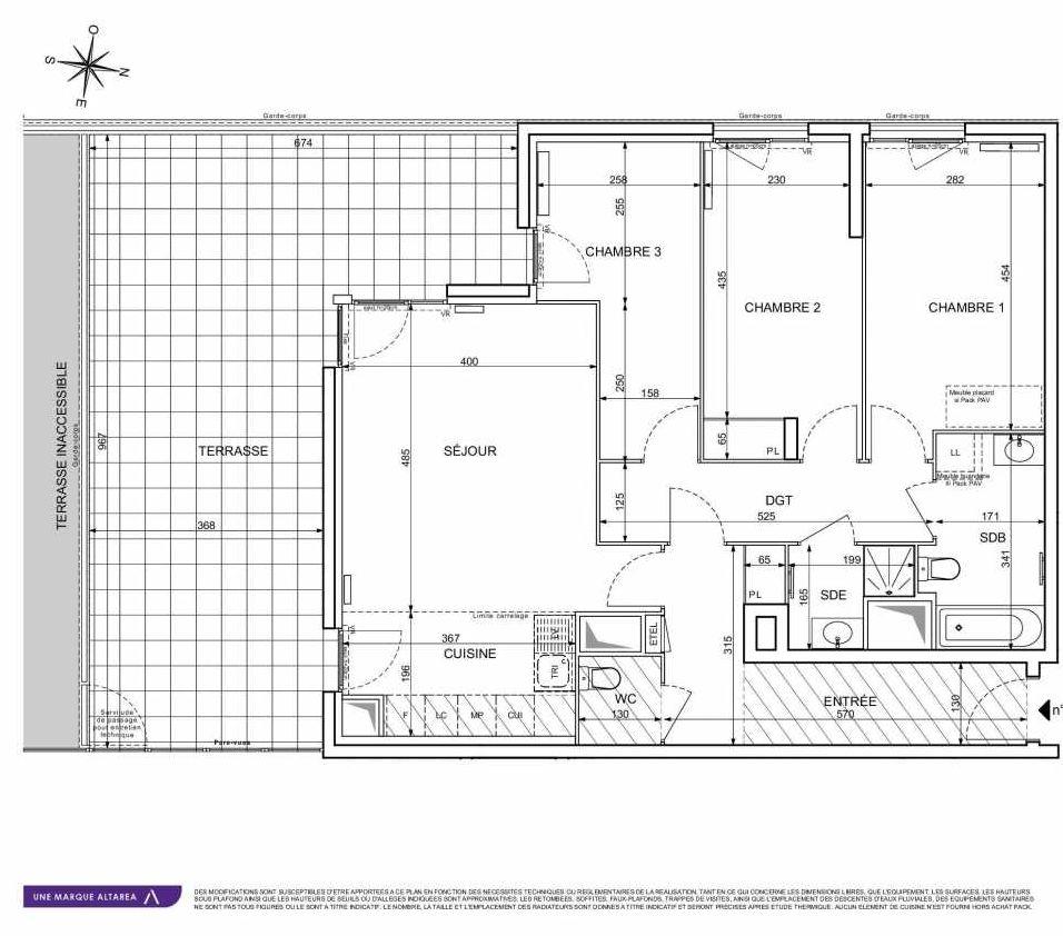 Plan 1407, appartement neuf type T4 au 4ème étage, orienté Sud faisant 90m² du programme neuf 18 RUE CHARLES MARTIGNY à Maisons-Alfort.