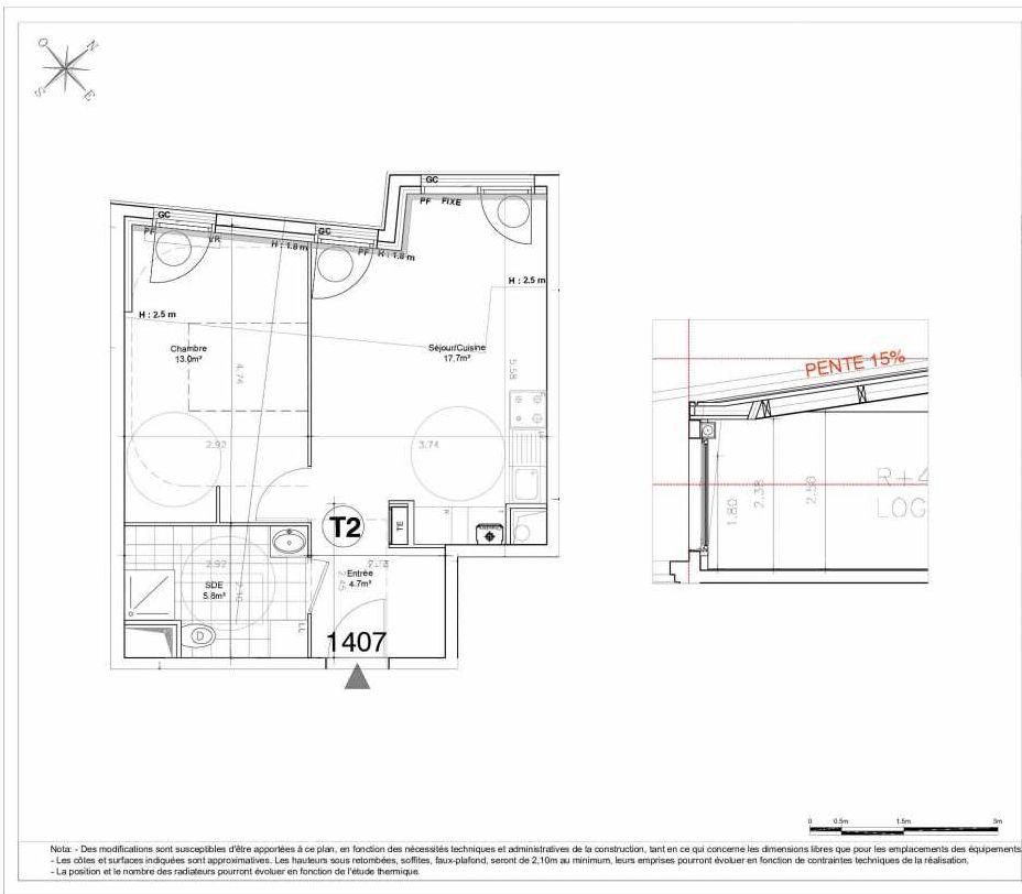 Plan 1407, appartement neuf type T2 au 4ème étage, orienté Nord faisant 41m² du programme neuf LES JARDINS D'AUNAIS ACCESSION à Aulnay-sous-Bois.