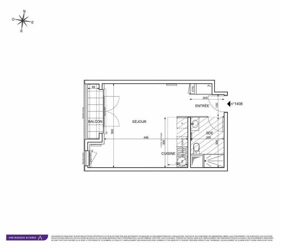 Plan 1408, appartement neuf type T1 au 4ème étage, orienté Sud faisant 35m² du programme neuf 18 RUE CHARLES MARTIGNY à Maisons-Alfort.