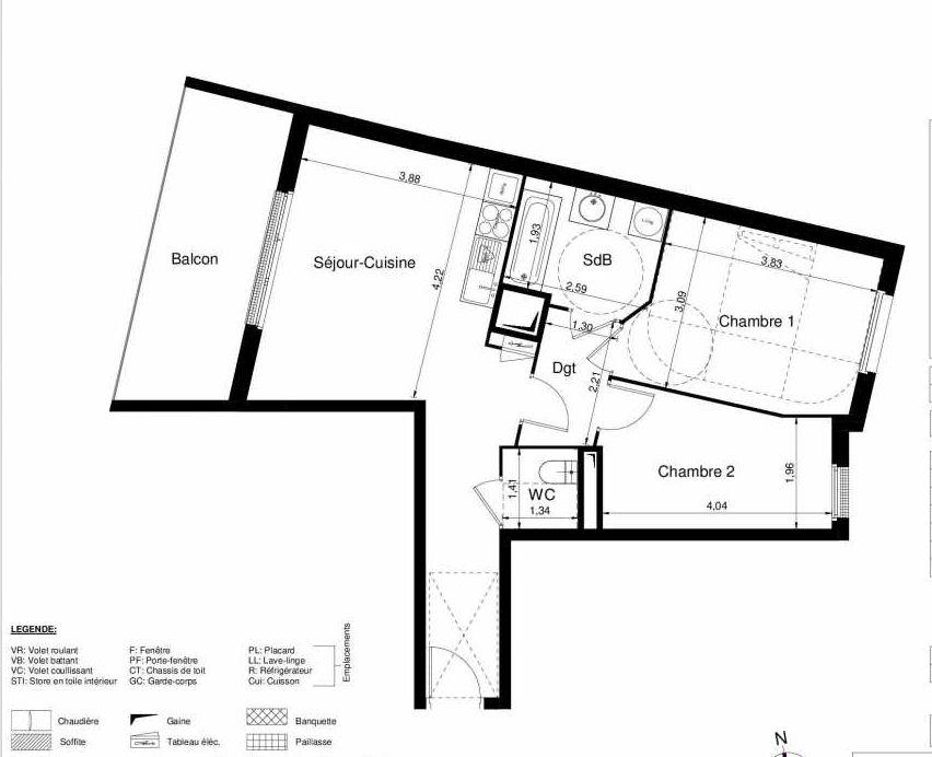 Plan 1408, appartement neuf type T3 au 4ème étage, orienté Ouest faisant 57m² du programme neuf LES JARDINS D'ARGELIES BÂTIMENT 1 ET 2 à Juvisy-sur-Orge.