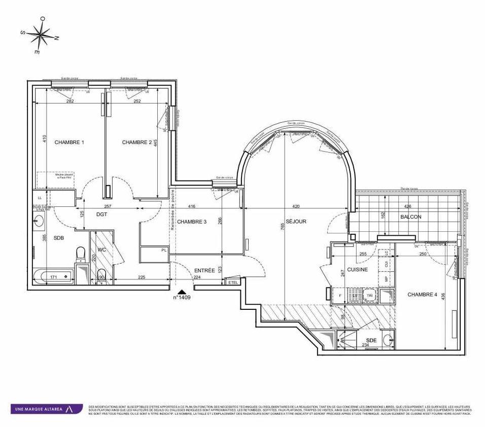 Plan 1409, appartement neuf type T5 au 4ème étage, orienté Sud faisant 103m² du programme neuf 18 RUE CHARLES MARTIGNY à Maisons-Alfort.