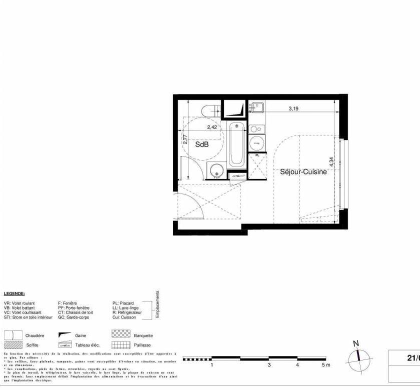 Plan 1409, appartement neuf type T1 au 4ème étage, orienté Est faisant 24m² du programme neuf LES JARDINS D'ARGELIES BÂTIMENT 1 ET 2 à Juvisy-sur-Orge.
