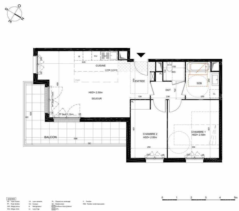 Plan 141, appartement neuf type T3 au 4ème étage, orienté Sud faisant 65m² du programme neuf LES JARDINS BALZAC BAT 3 à Argenteuil.