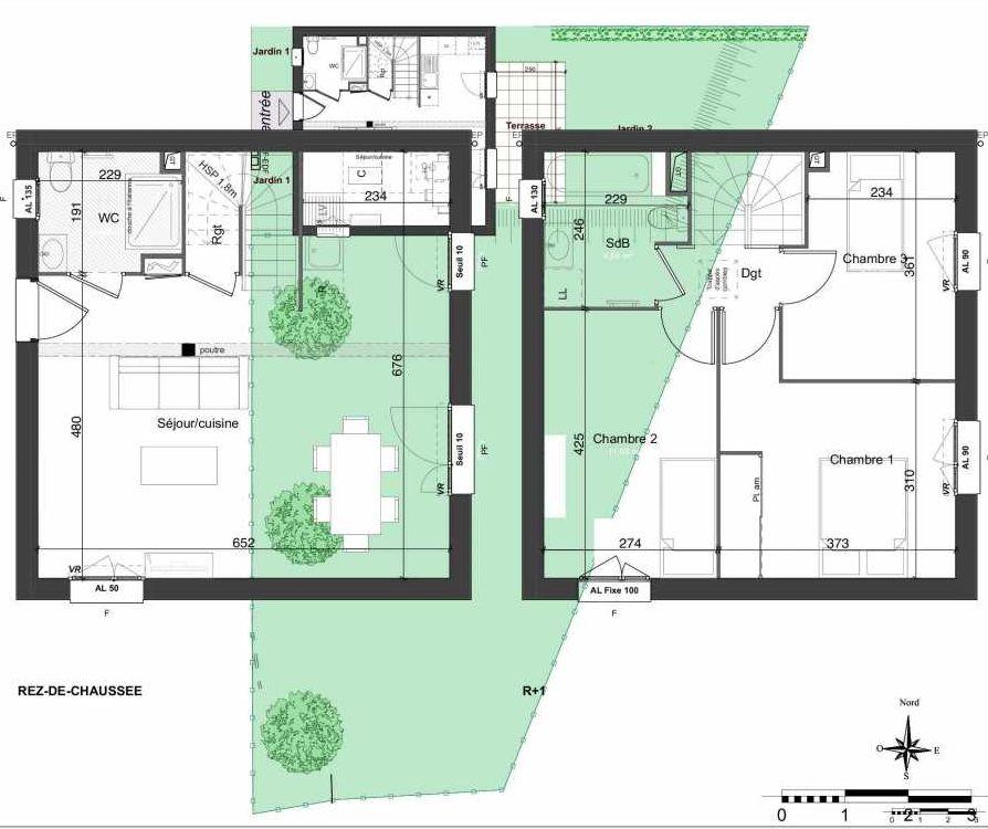 Plan 141, appartement neuf type T4 au Rez de chaussée, orienté Est faisant 81m² du programme neuf LES JARDINS BELLIS TRANCHE 2 à Bourg-en-Bresse.