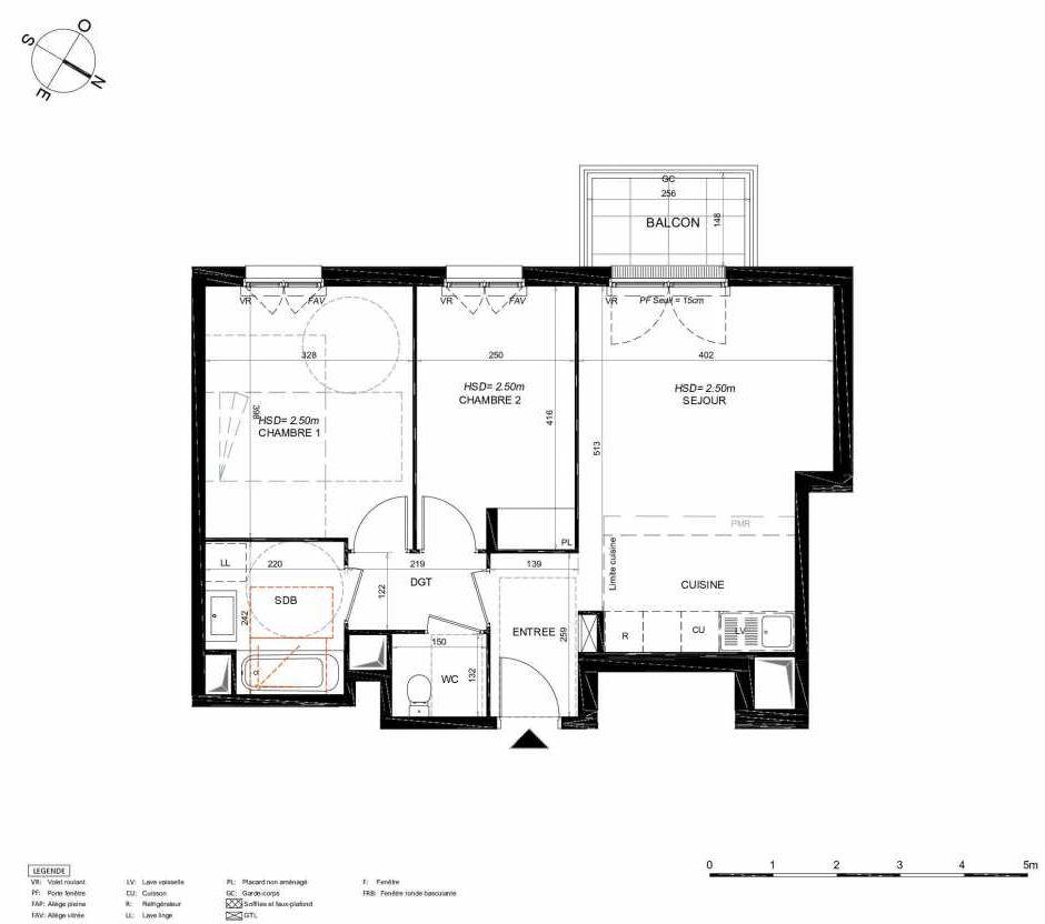 Plan 143, appartement neuf type T3 au 4ème étage, orienté Sud faisant 58m² du programme neuf LES JARDINS BALZAC BAT 3 à Argenteuil.