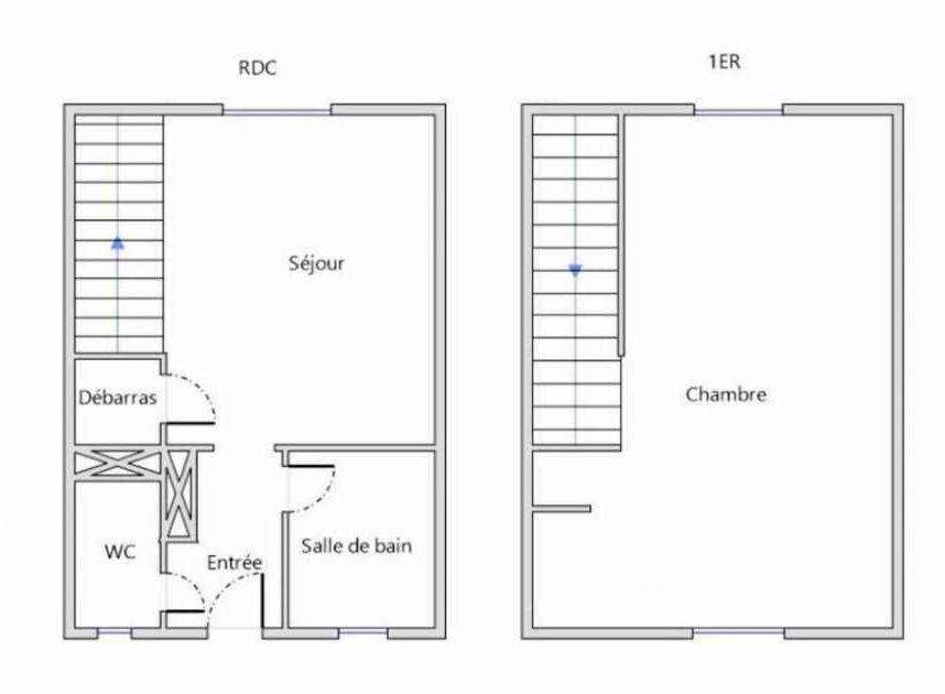 Plan 144, appartement neuf type T2 au Rez de chaussée, orienté Sud faisant 33m² du programme neuf HORIZON MORGAT à Crozon.