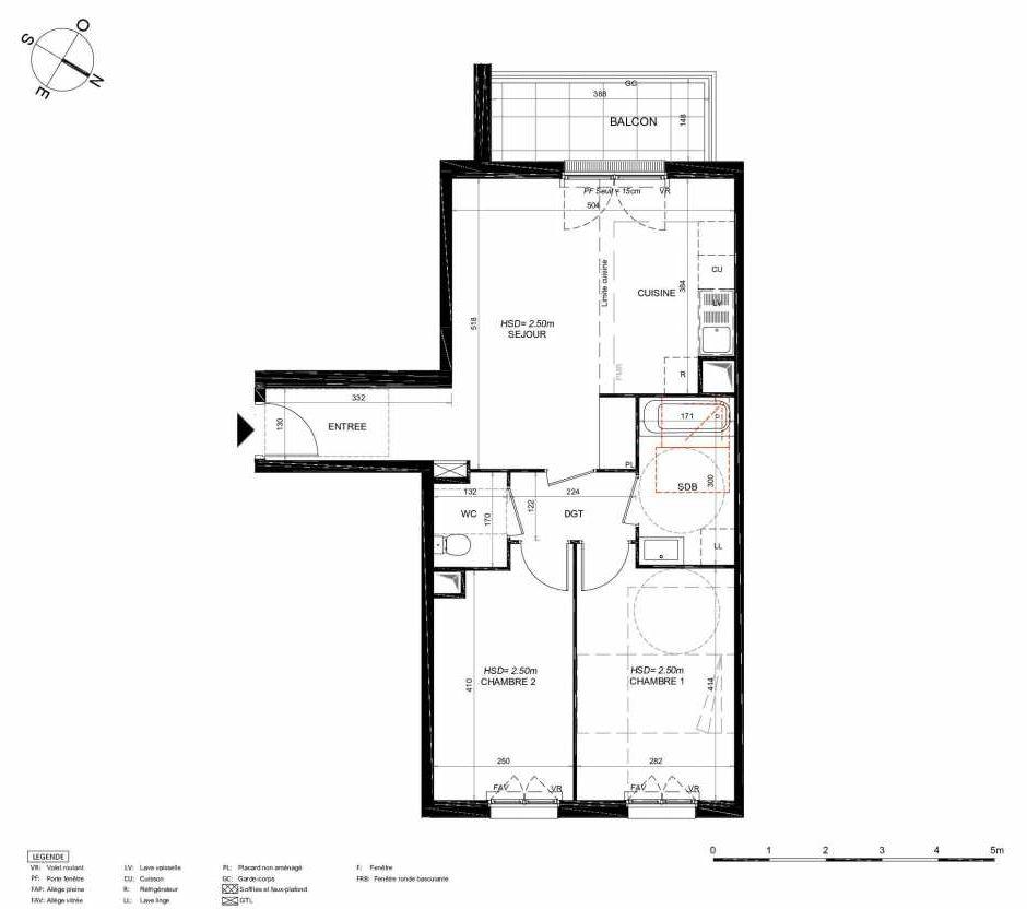 Plan 144, appartement neuf type T3 au 4ème étage, orienté Sud faisant 60m² du programme neuf LES JARDINS BALZAC BAT 3 à Argenteuil.