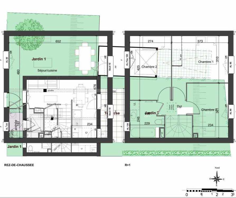 Plan 144, appartement neuf type T4 au Rez de chaussée, orienté Est faisant 81m² du programme neuf LES JARDINS BELLIS TRANCHE 2 à Bourg-en-Bresse.