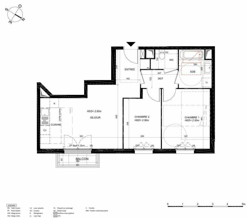 Plan 145, appartement neuf type T3 au 4ème étage, orienté Nord faisant 59m² du programme neuf LES JARDINS BALZAC BAT 3 à Argenteuil.