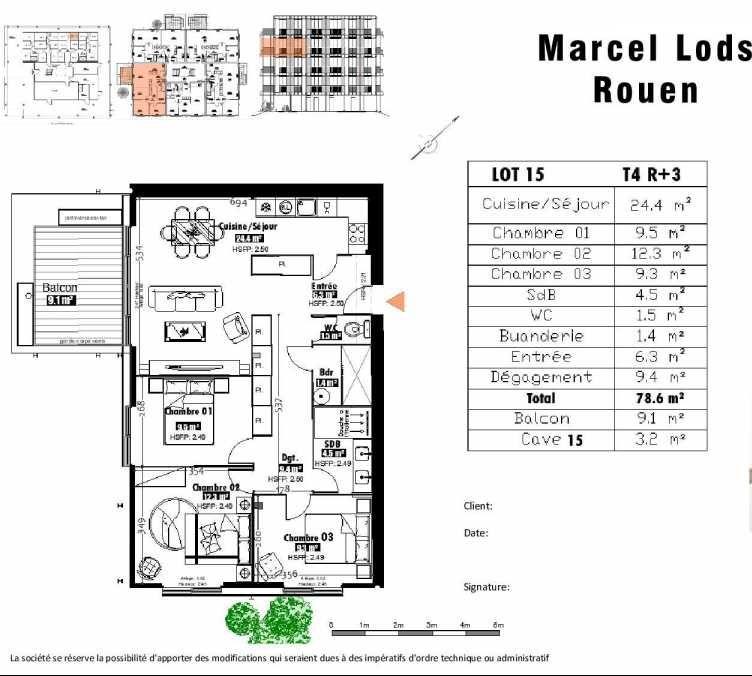 Plan 15, appartement neuf type T4 au 3ème étage, faisant 79m² du programme neuf 15 rue Jean-Philippe Rameau à Rouen.