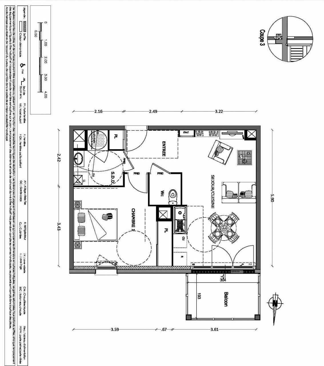 Plan 15, appartement neuf type T2 au 1er étage, orienté Nord faisant 45m² du programme neuf NOUVELLE VAGUE BATIMENT B - ACCESS 37 LOTS à Benerville-sur-Mer.