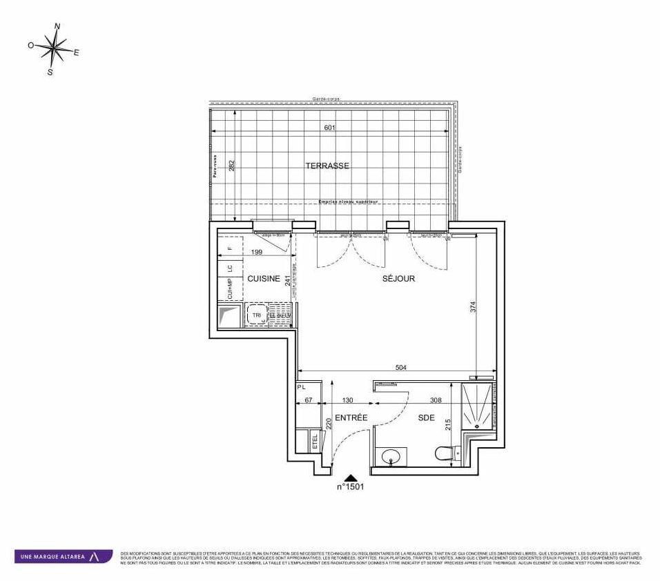 Plan 1501, appartement neuf type T1 au 5ème étage, orienté Ouest faisant 33m² du programme neuf 18 RUE CHARLES MARTIGNY à Maisons-Alfort.